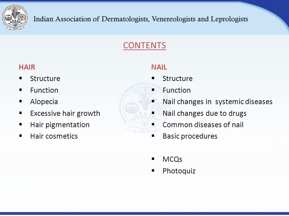 Hair and nail disorders ppt video online download contents hair structure function alopecia excessive hair growth sciox Image collections