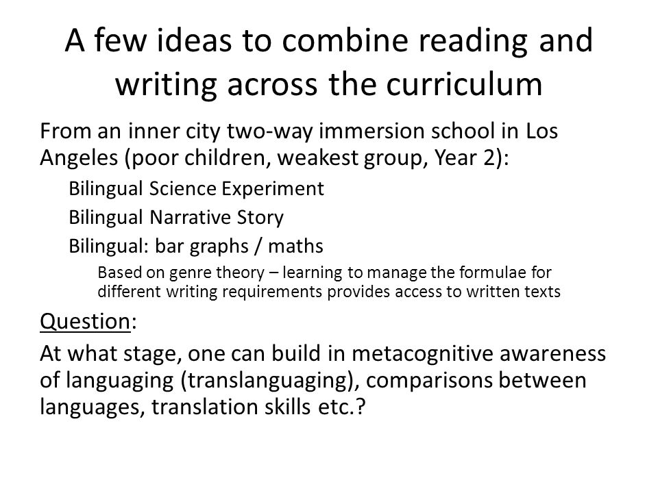 writing across the curriculum ideas