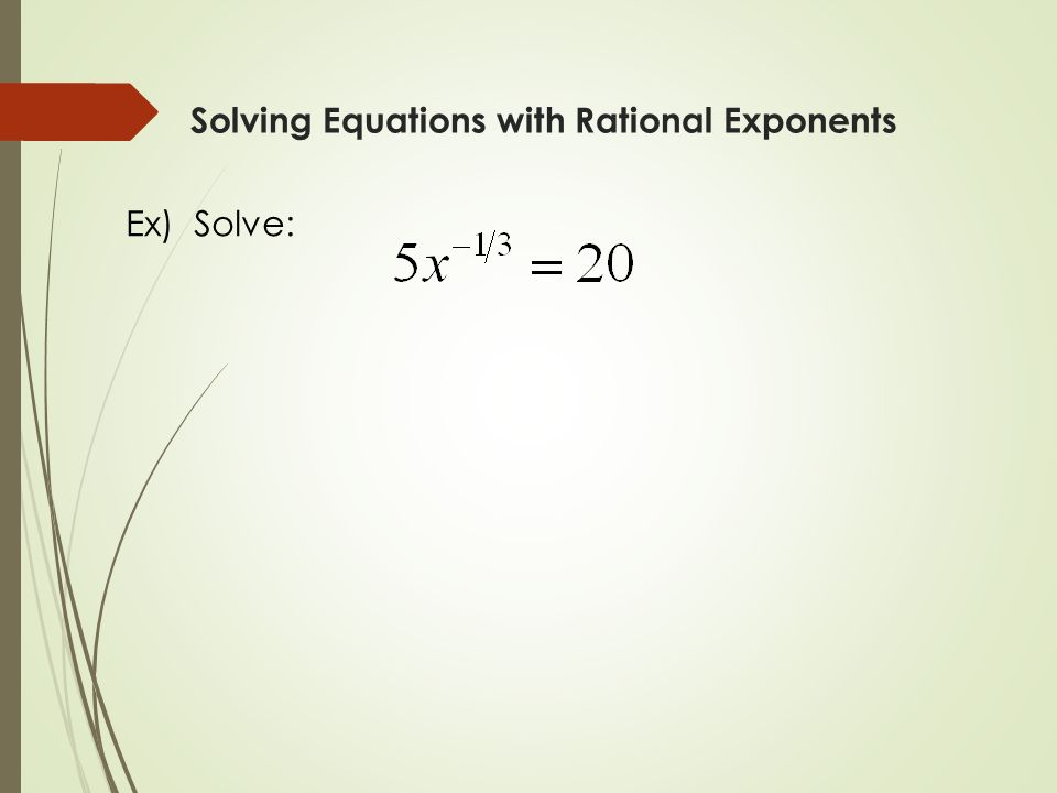 how to solve equations with negative exponents