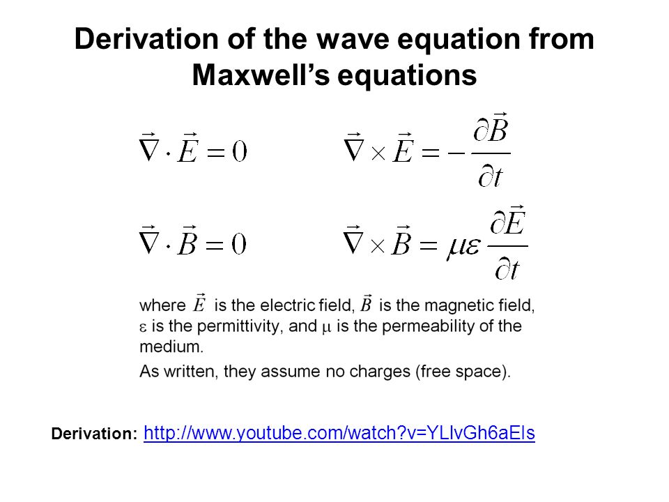 Derivation of the wave equation from Maxwell's equations