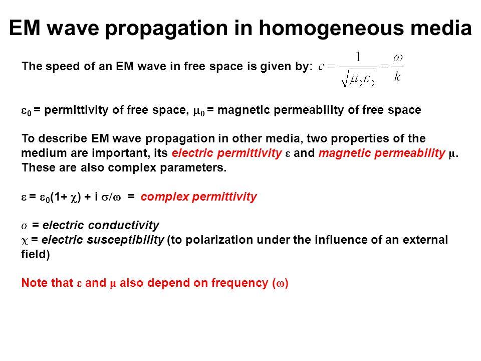 EM wave propagation in homogeneous media
