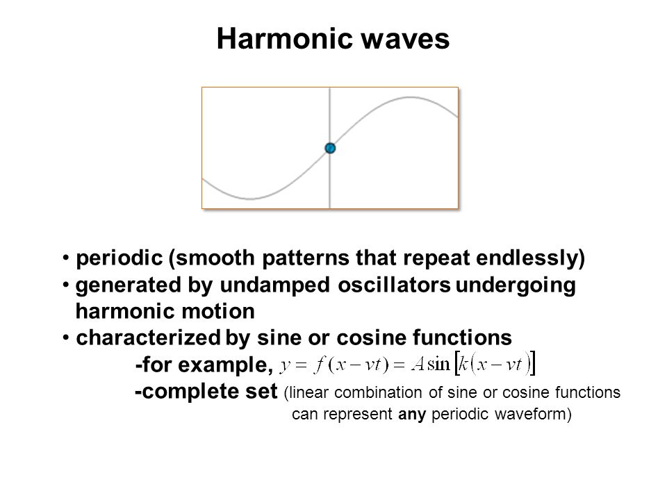 Harmonic waves periodic (smooth patterns that repeat endlessly)