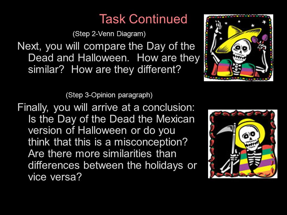 El da de los muertos a webquest ppt video online download 4 step 3 opinion paragraph task continued step 2 venn diagram next you will compare the day of the dead and halloween ccuart Gallery