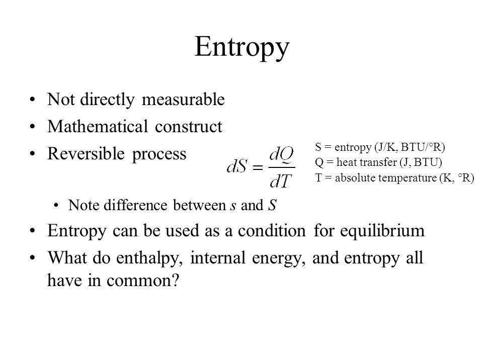 mathematical relationship between enthalpy and entropy problems
