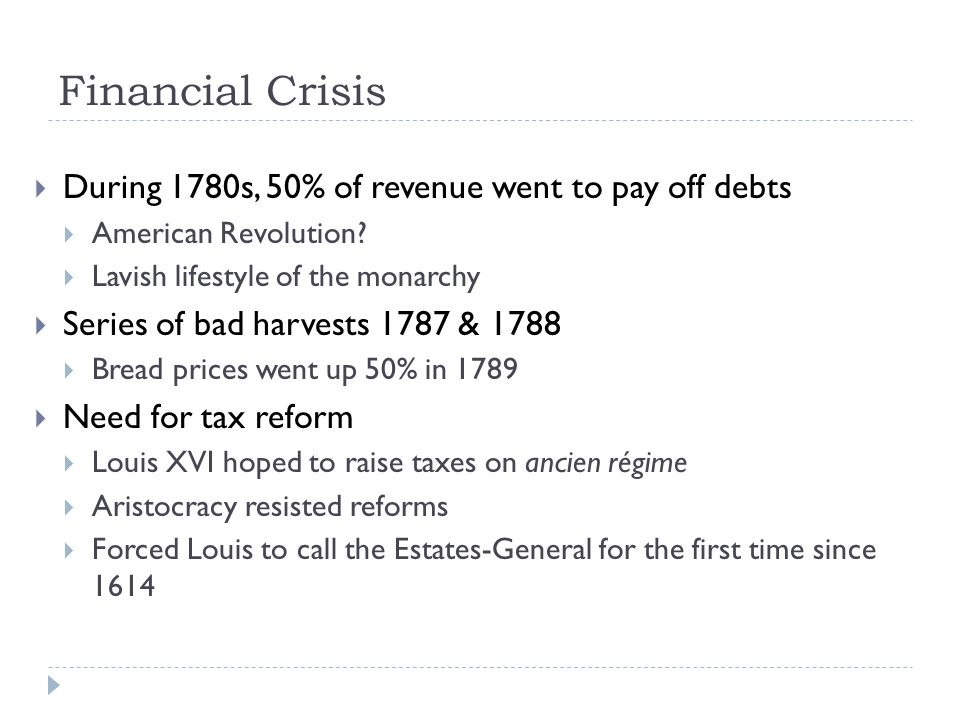 an analysis of the economic crisis during the french revolution The economic crisis of the 1780s the economic crisis of the 1780s american revolution primary menu  french revolution world war i russian revolution weimar republic.