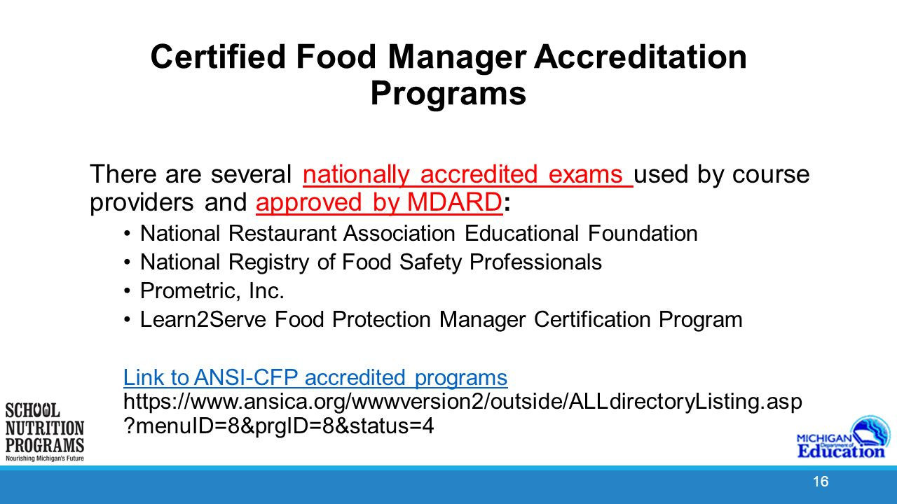 School food safety program ppt video online download certified food manager accreditation programs xflitez Images