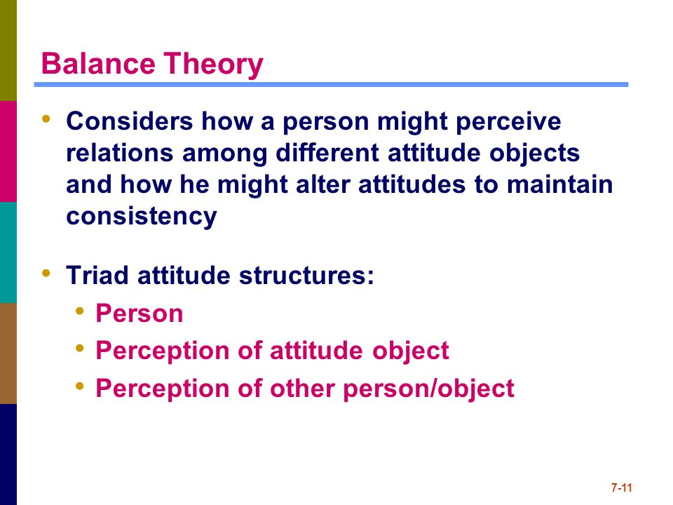 balance theory In heider = s balance theory the nonu relation is seen as a negative relation (heider page 202: relations between two elements are negative (dl and notu)) this means, if there is no relation between two people there is disharmony.