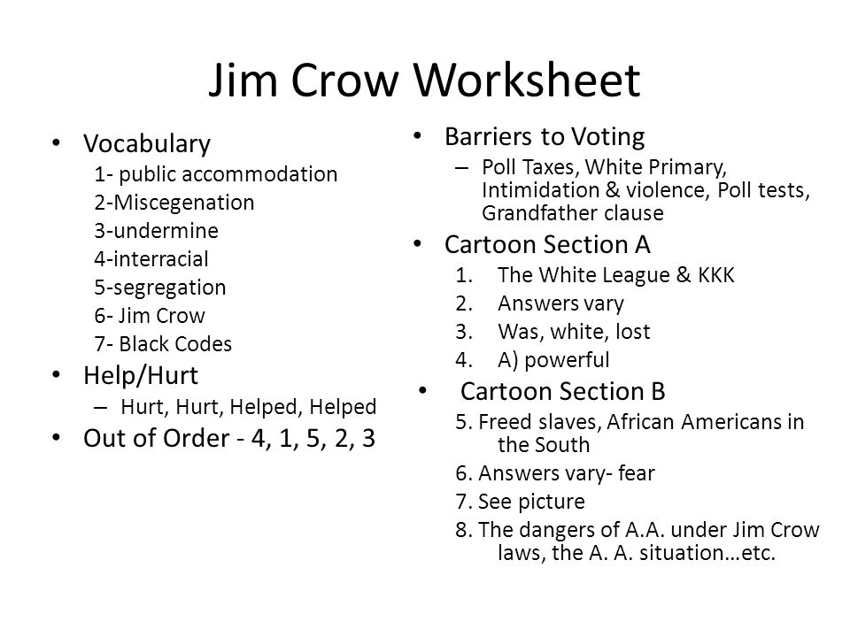 Early drawing of the Jim Crow character and an entertainer – Jim Crow Laws Worksheet