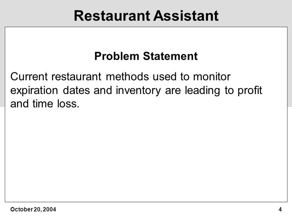 Restaurant Assistant Cs410 Fall '04 Group Ppt Download
