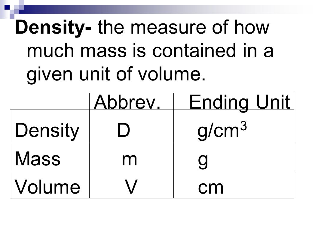 2 Density The Measure Of How Much Mass Is Contained In A Given Unit Of  Volume