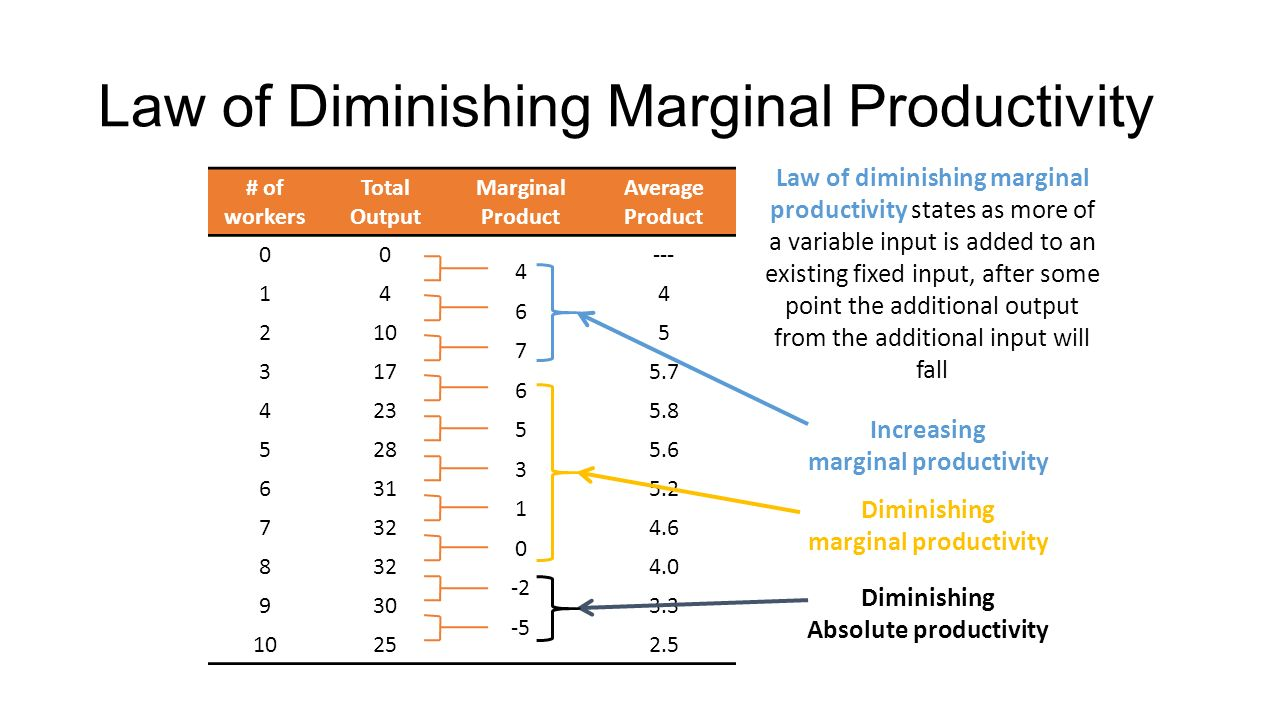 the law of diminishing marginal productivity Total product average product = tp / qv (variable factor) marginal product =  δtp/δqv law of diminishing returns but when does 'diminishing returns'.