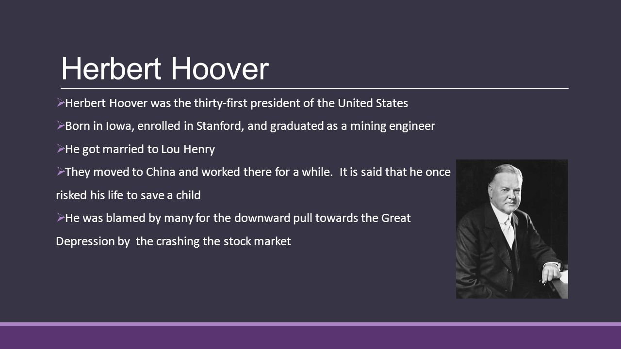 account of the life and presidency of herbert hoover Visit this site for this president herbert hoover timeline detailing key dates and  events  short biography of president herbert hoover  chronological record -  usa - era - time lines - account - historic period - past - time lines - past.