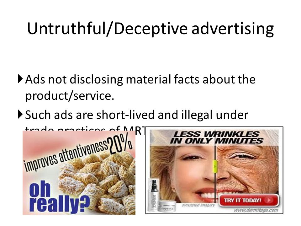 understanding deceptive advertising Food advertising: a primer on the regulation of misleading ads by dara lovitz and public understanding of the competitive process.