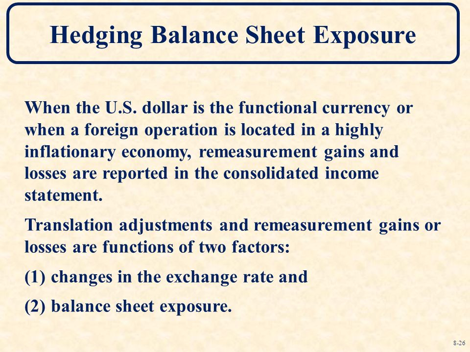 balance sheet hedge The balance sheet hedge involves equating the amount of exposed assets in an exposure currency with the exposed liabilities in that currency, so the net exposure is zero thus when an.