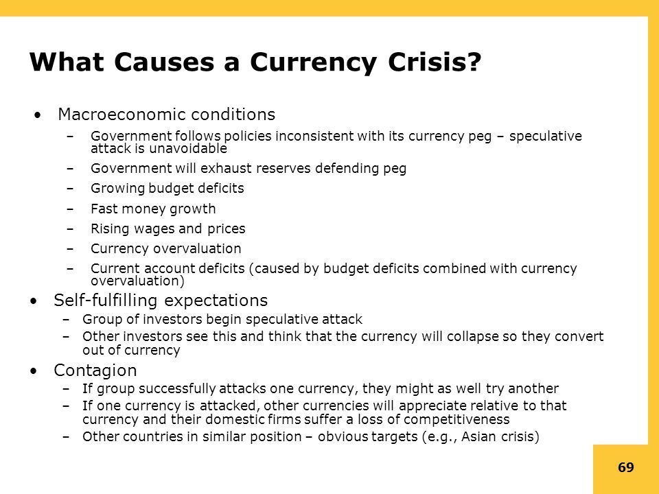 "causes of the asian currency crisis Account deficits were ""caused"" by a surge of for- eign capital inflows rather than by excessive domestic spending drawing in capital overall indebtedness was moderate relative to both gdp and exports and concerns over basic solvency seemed to play no major role in the crisis the fundamental issue in asia was liquidity."