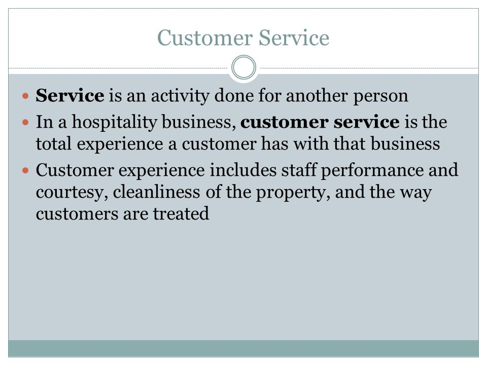Co ordinate customer service activity in property