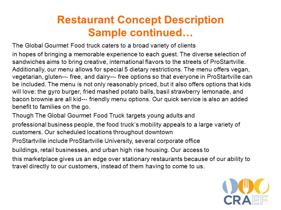 restaurant description