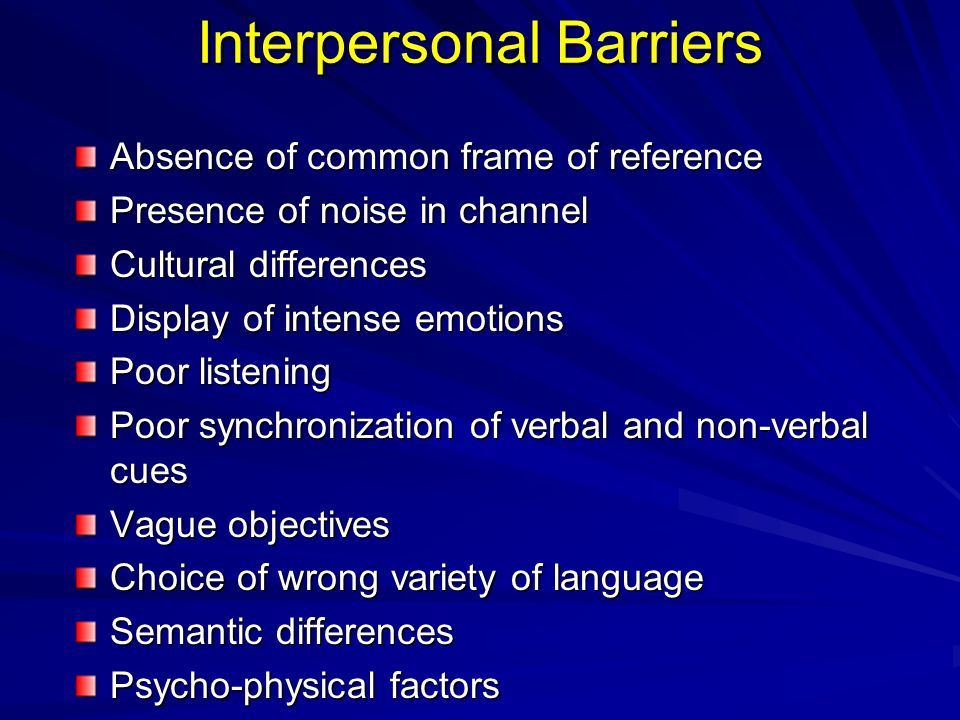 barriers of interpersonal communication in organization Communication in organization is one of the biggest challenges today  3 main barriers to communication in an organization  such interpersonal barriers can .