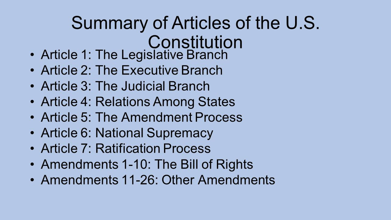 articles 1 involving the actual constitution