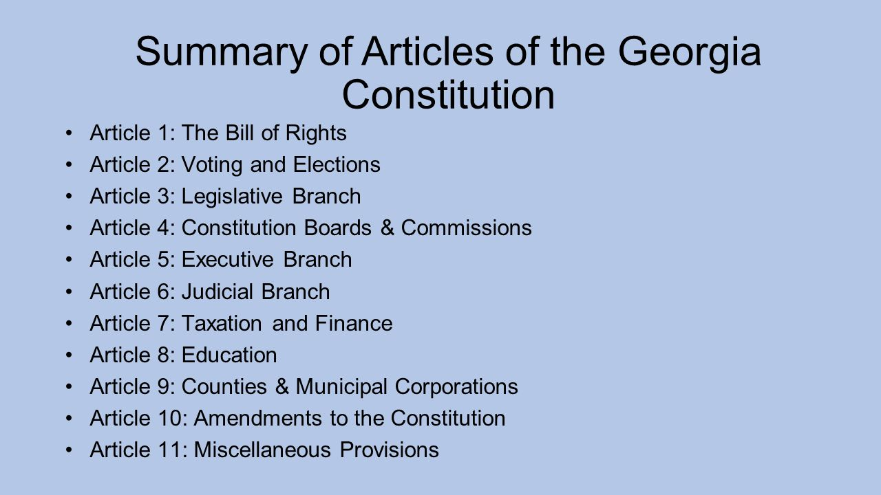 An analysis of seven articles of the us constitution