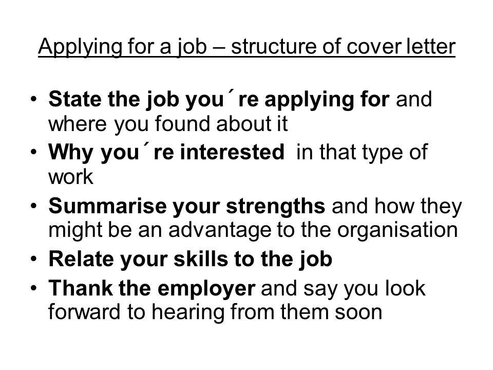 Applying for a job ppt video online download applying for a job structure of cover letter expocarfo
