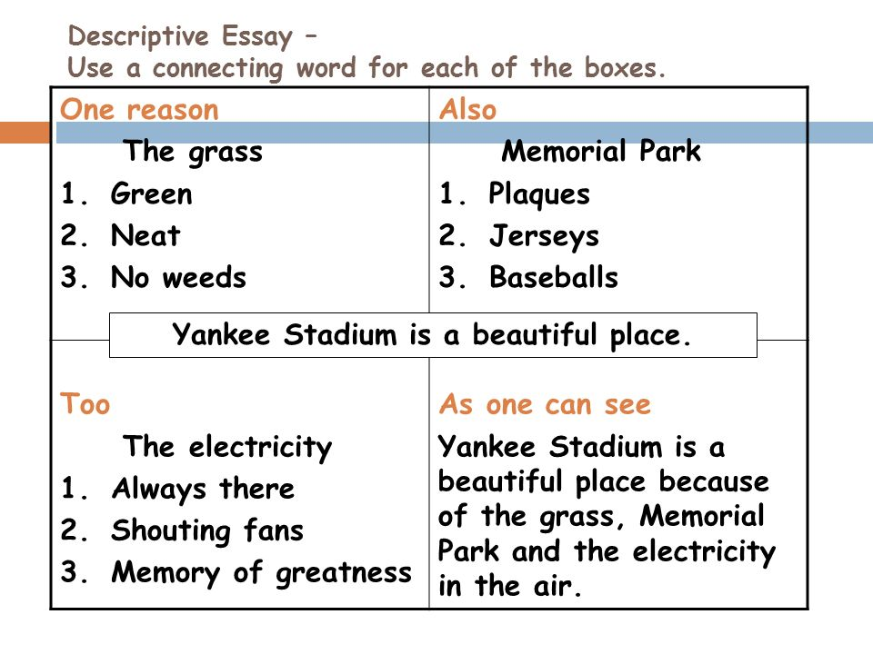connecting words essay