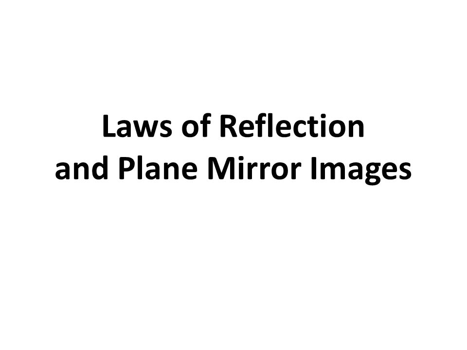 Laws of Reflection and Plane Mirror Images