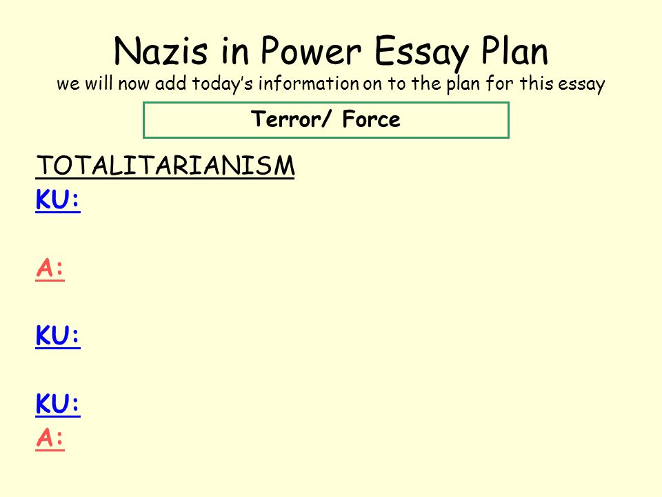 nazis in power part terror and force ppt  nazis in power essay plan we will now add today s information on to the plan for