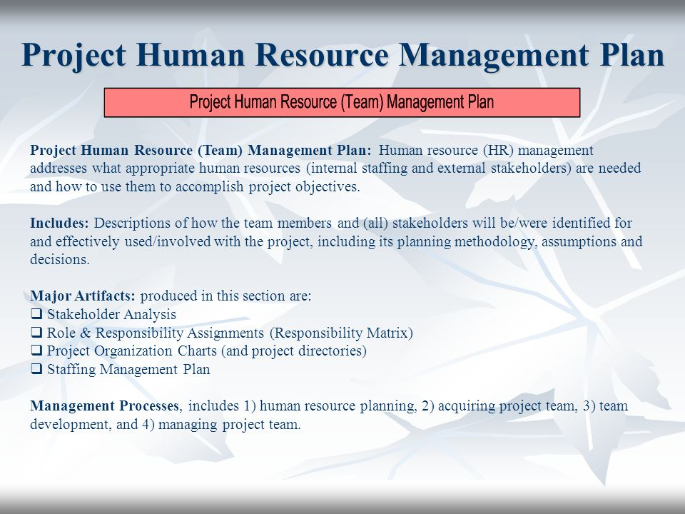 managing human resources in projects By managing human resources in the project, the project manager defines few important roles as follows: sponsor, project team, project manager, functional manager if to look at the project human resources management entirely, it can be divided into four consecutive processes.