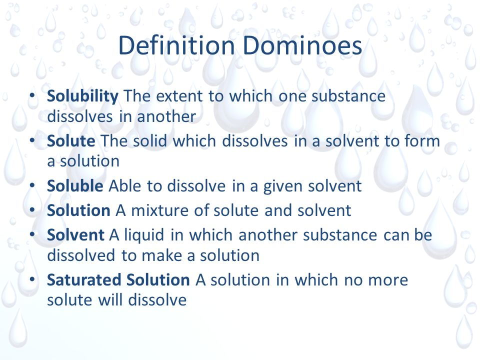 2 Definition Dominoes Solubility ...