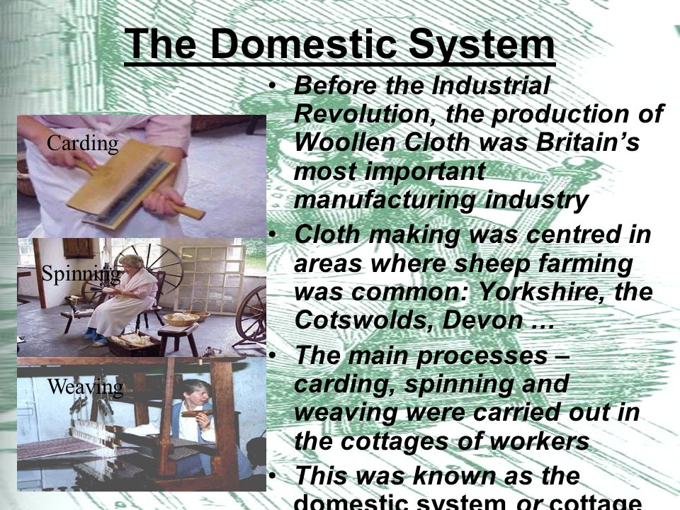 the domestic system Starter activity on what the domestic system was and a ppt to explain the main points a worksheet to enable pupils to complete an interview task a plenary quiz to finish.