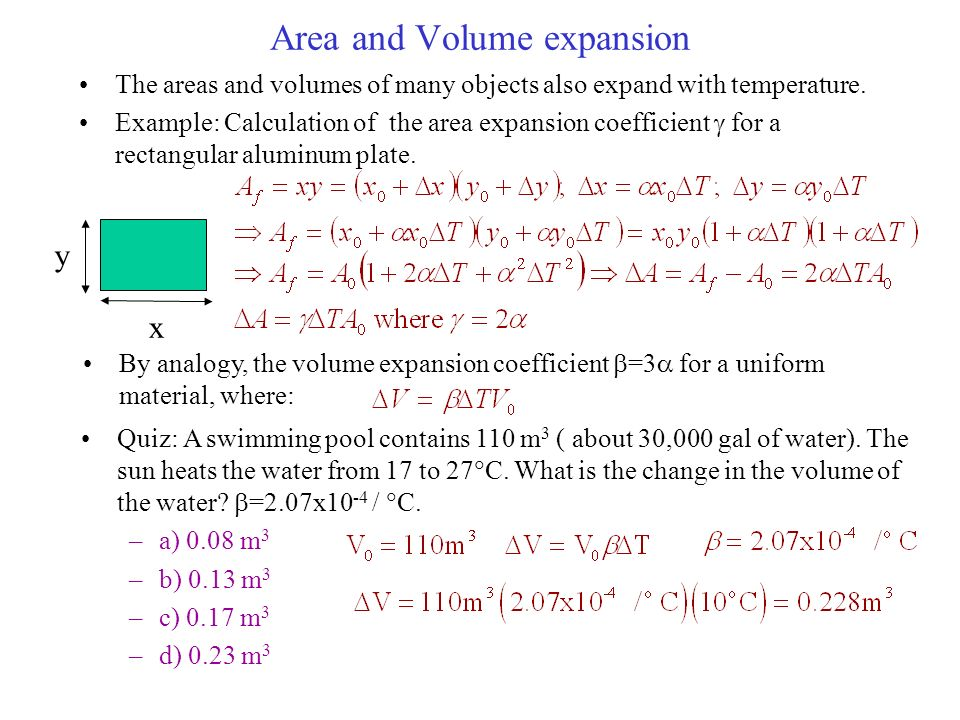 Physics 231 lecture 29 main points of today s lecture - The volume of water in a swimming pool ...