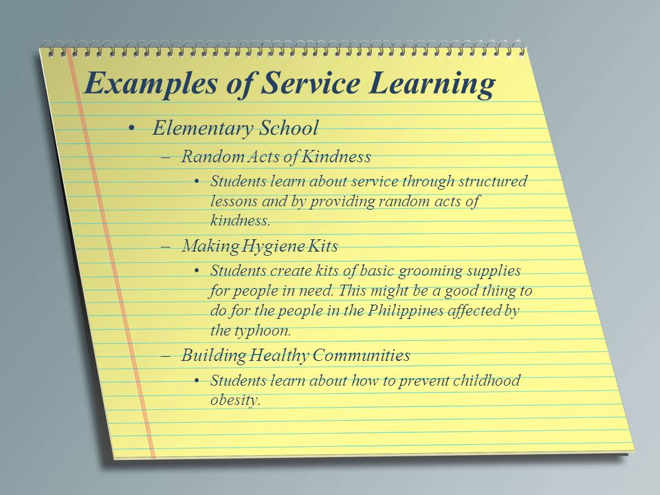 service learning essay example Some examples of service learning  together over his exploits, beats reading  the essay alone and trying to translate it precisely with only a dictionary for help.