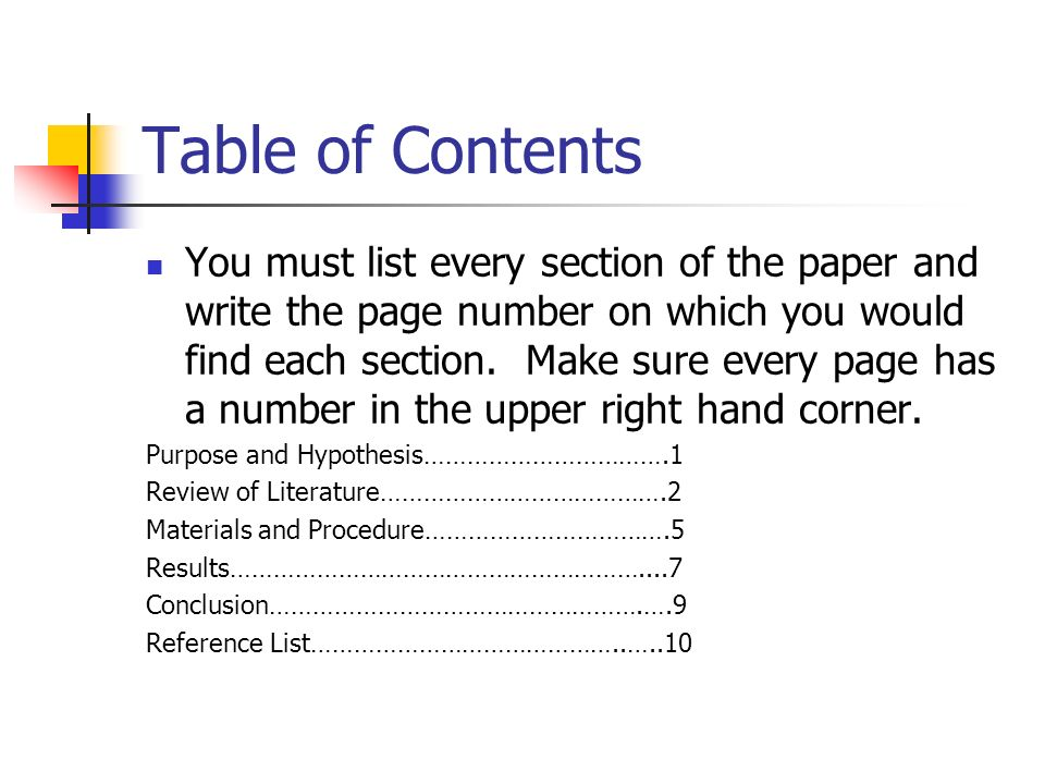 Research Paper Table Of Contents