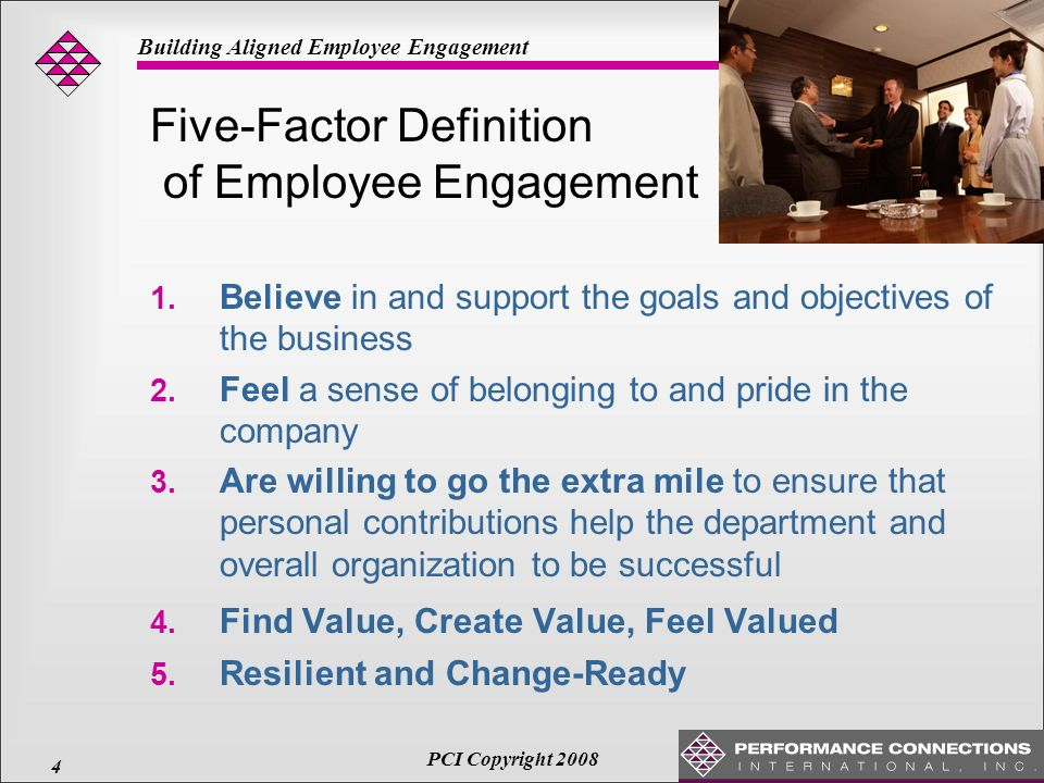 """defining employee engagement According to bersin by deloitte, """"employee engagement has become the top issue on the minds of business leaders, directing us to an entirely new model of management"""" but what does employee engagement even mean few business buzzwords are more ubiquitous, yet the exact definition of employee ."""