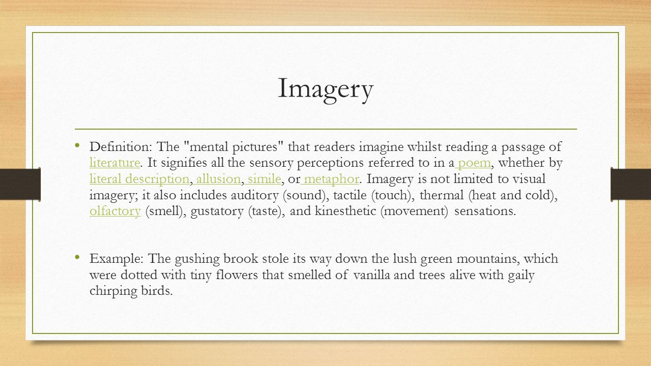 imagery in literature Macbethl imagery one of the most important tools in literature is imagery it is not just in there to fill up paper rather, there is at least one dramatic purpose.