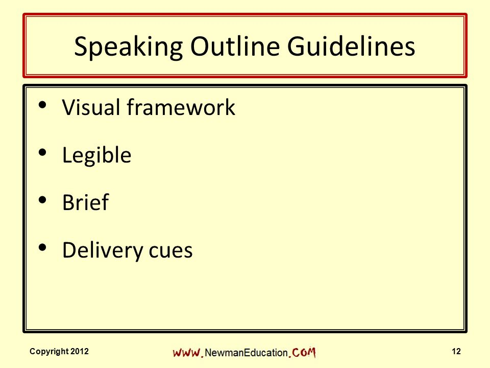 PUBLIC SPEAKING Outlining Your Speech Copyright ppt download