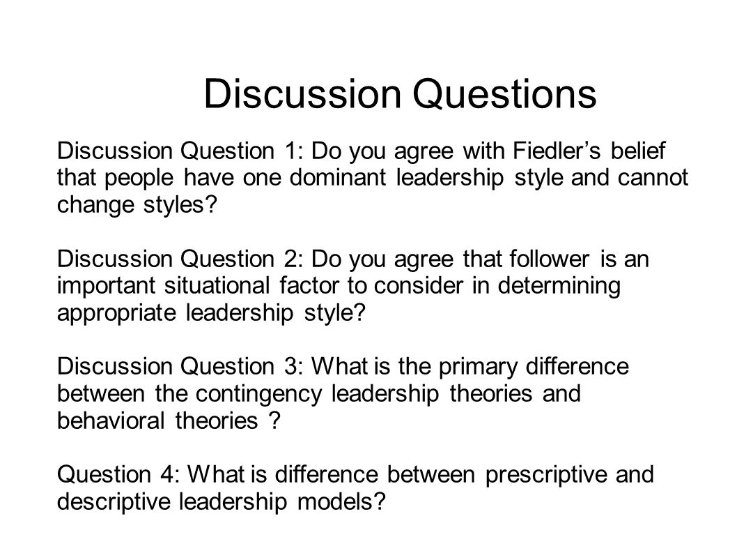 Leadership discussion questions