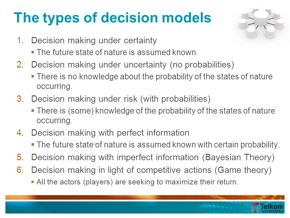 types of decision making models The model of rational decision making assumes that the decision maker has full   models of decision making offer different views of how people make choices.