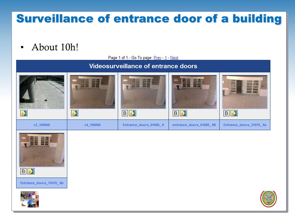 Surveillance of entrance door of a building