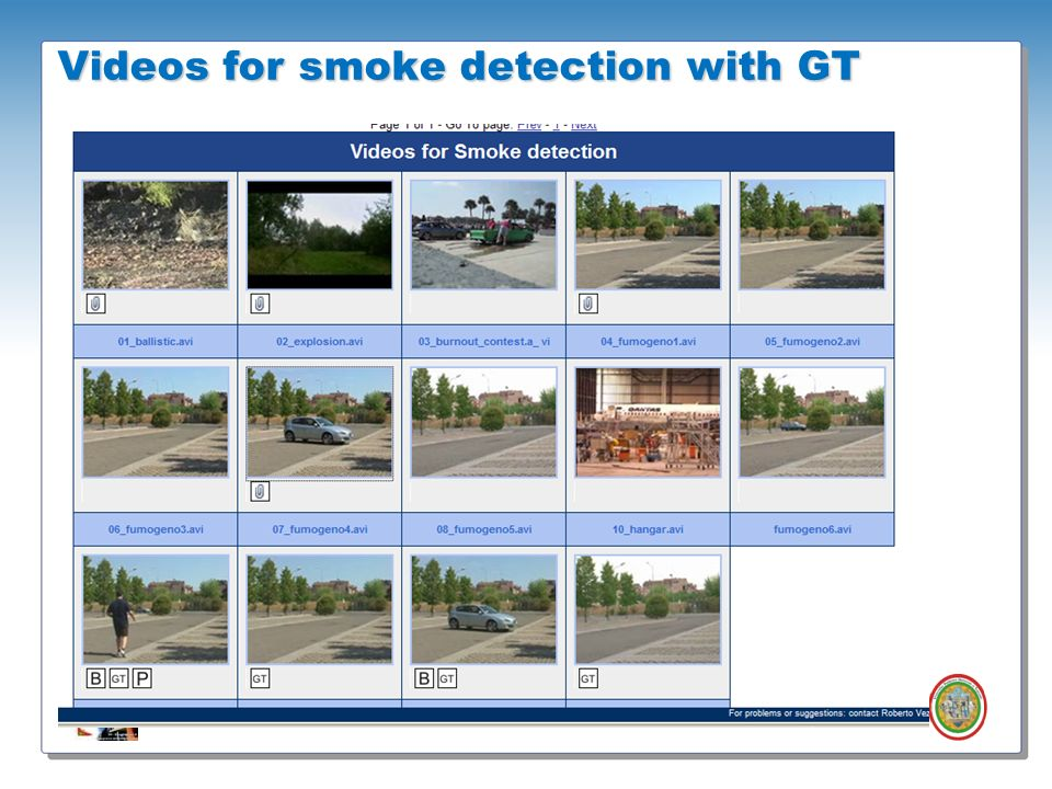 Videos for smoke detection with GT