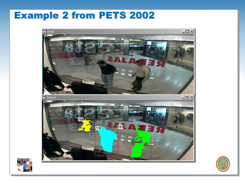 Example 2 from PETS 2002This test video is extracted from the 2002 pets workshop dataset. It's extremely difficult for some reasons: …