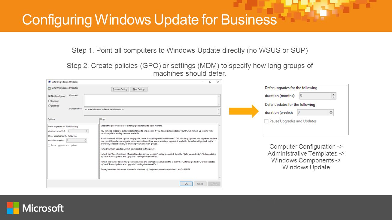 computer configuration administrative templates - windows 10 deploying and staying up to date ppt video