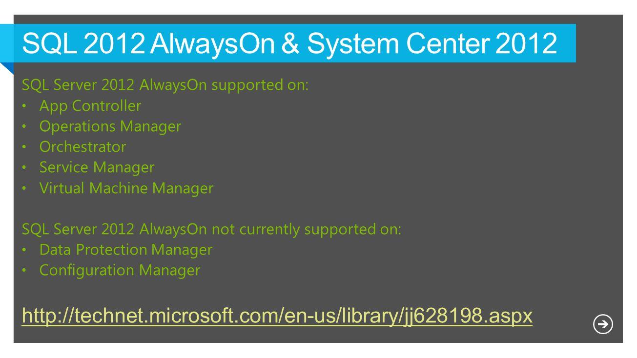 SQL 2012 AlwaysOn & System Center 2012