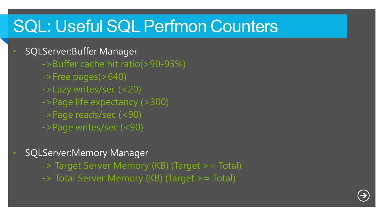 SQL: Useful SQL Perfmon Counters