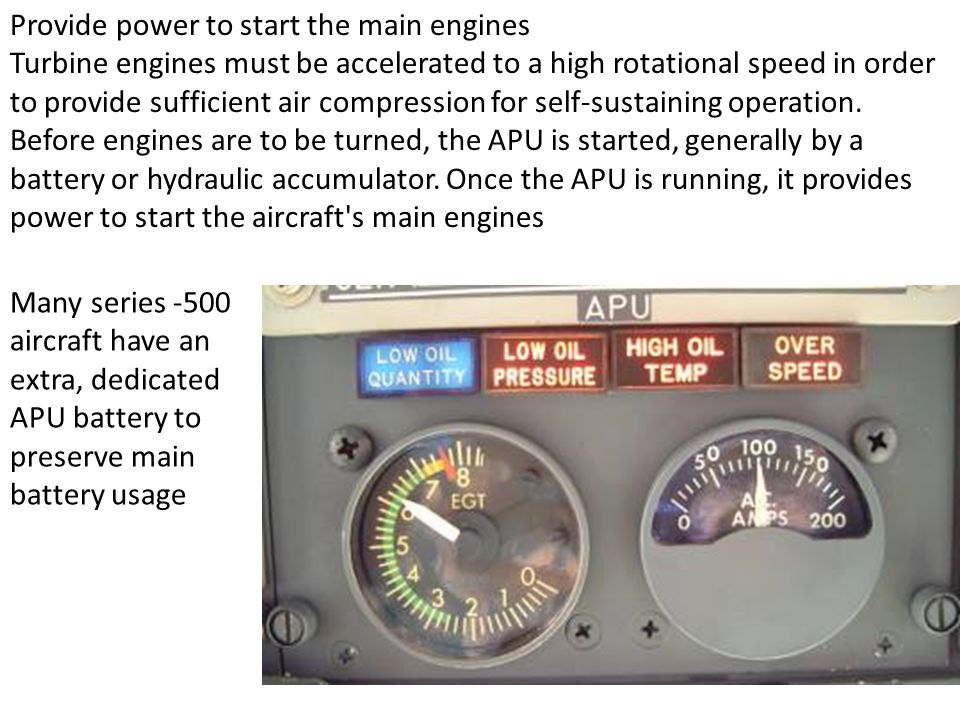 Provide power to start the main engines