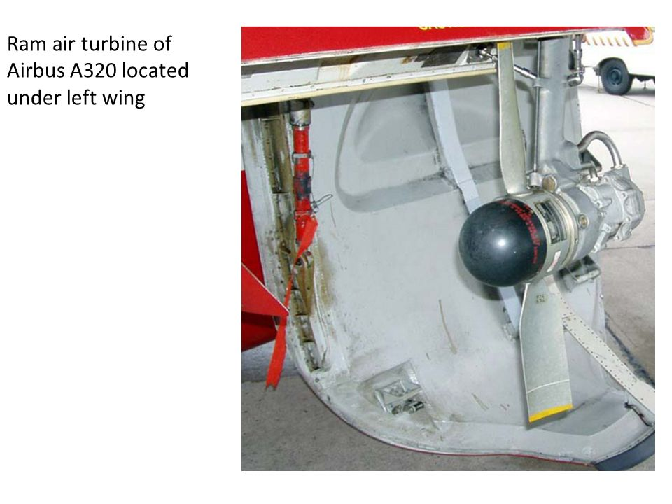 Ram air turbine of Airbus A320 located under left wing