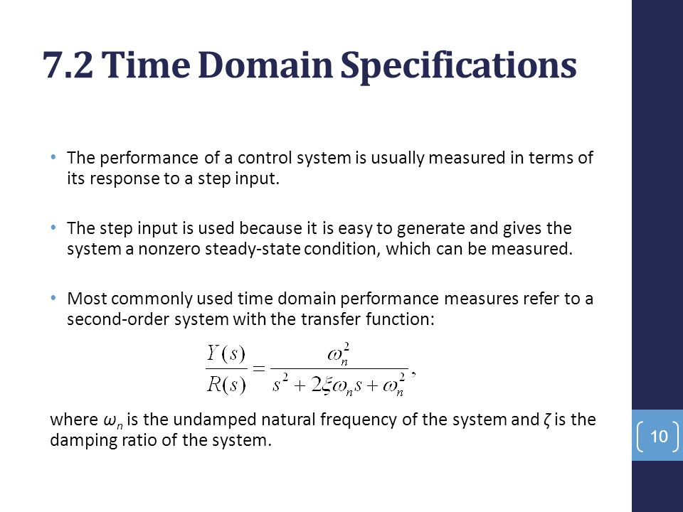 control system response in time domain Me 304 control systemscontrol systems  the steady state response of the system to sinusoidal input is of  time domain properties of a control system.