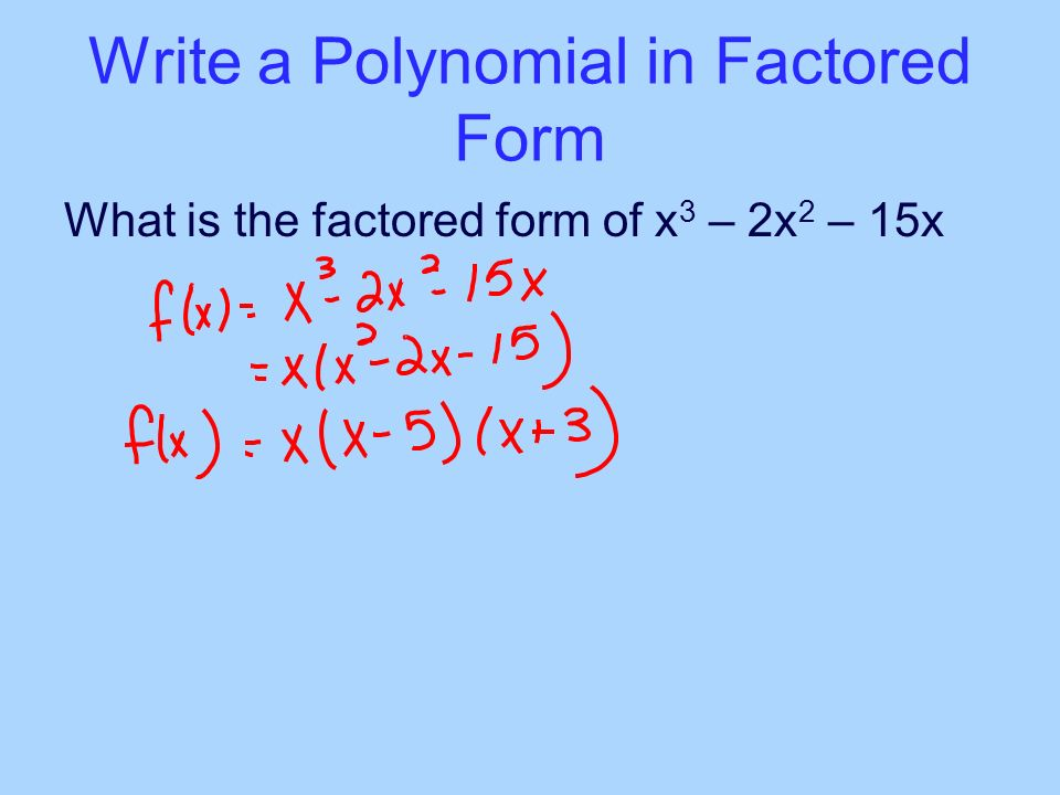 write the polynomial in standard form What is the standard form of a polynomial definition: a polynomial is in standard form when its term of highest degree is first, its term of 2nd highest is 2nd etc.