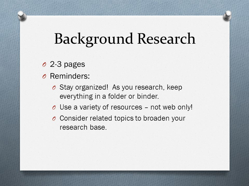 Background research paper for science fair project